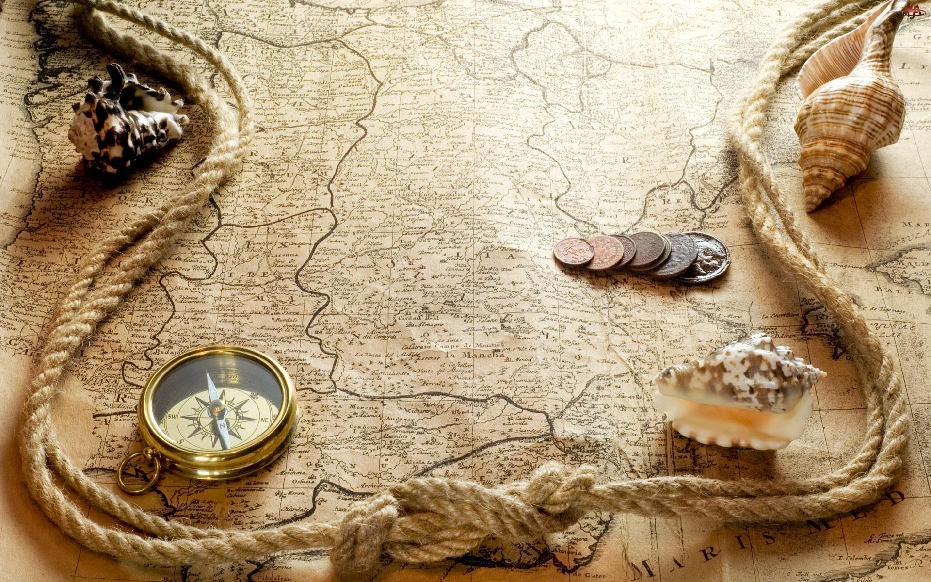 Muszle, Stara, Kompas, Mapa, Sznur