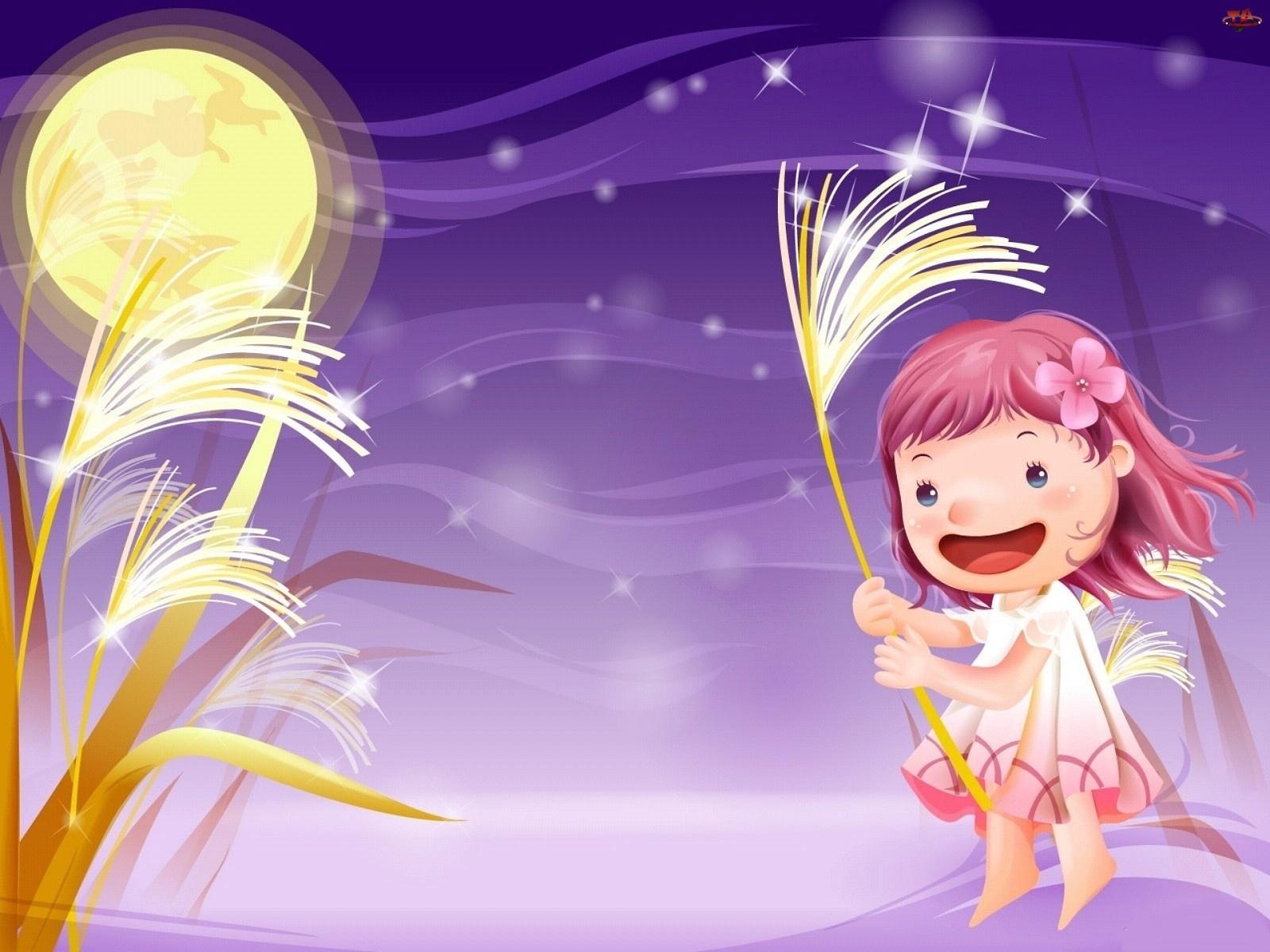Wieczór, Trawa, Księżyc, Dziecko