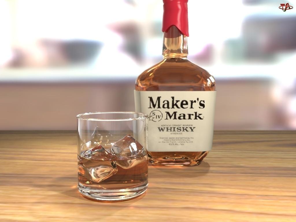 Szklaneczka, Whisky, Lód, Butelka