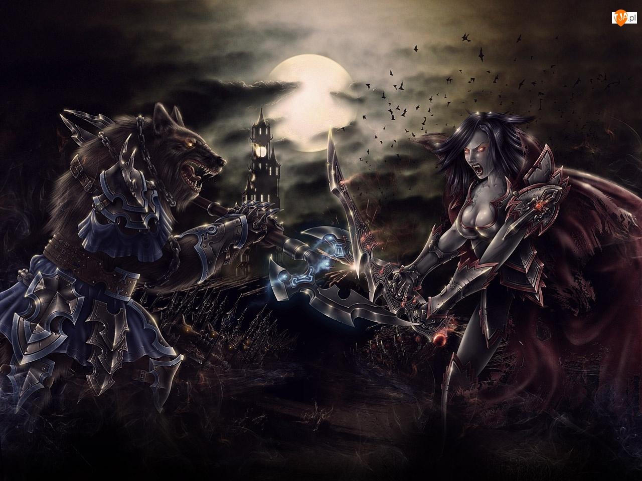 Wilkołak, Księżyc, Walka, Wampir