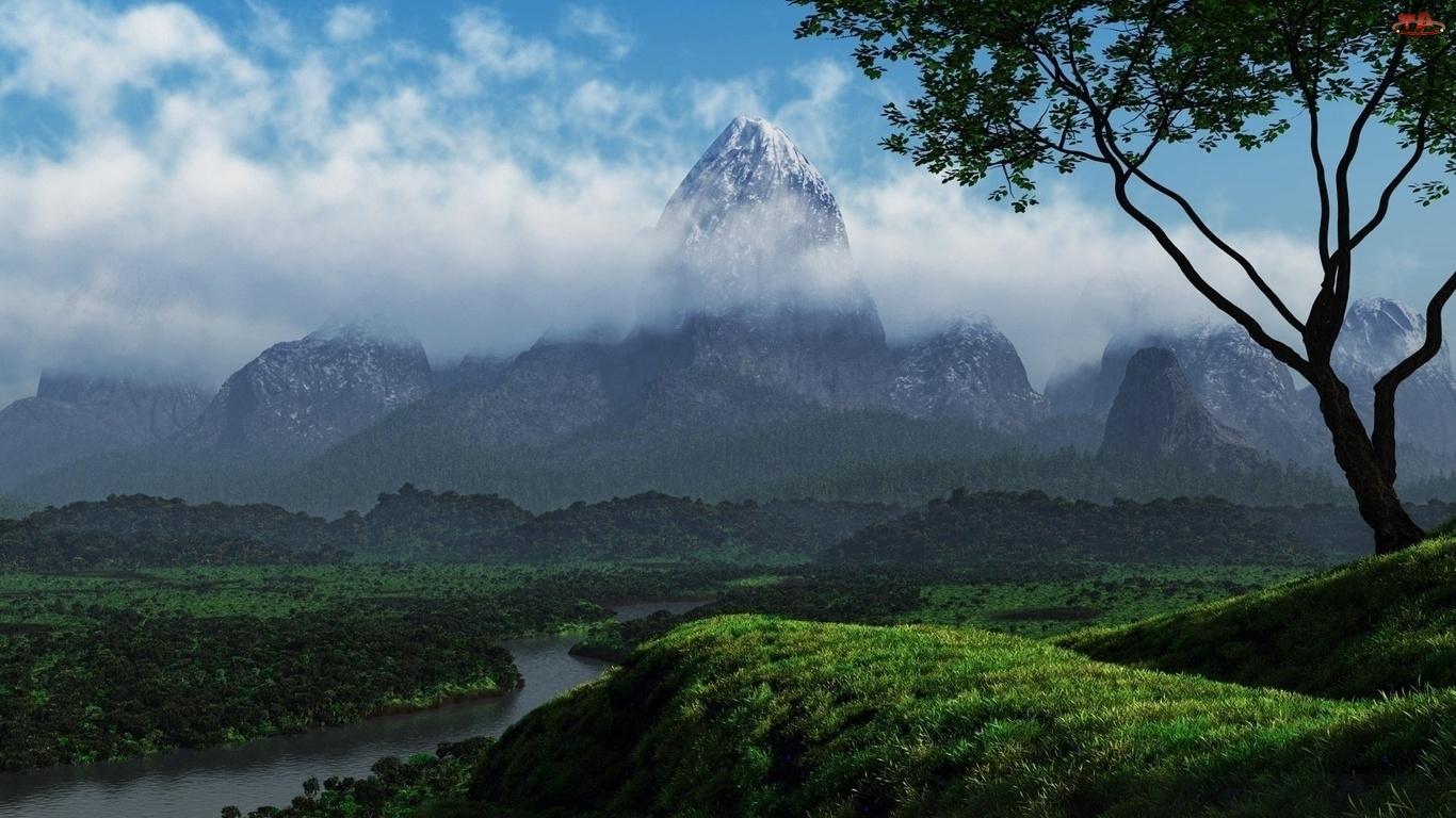 Rzeka, Chmury, Góry, Drzewa
