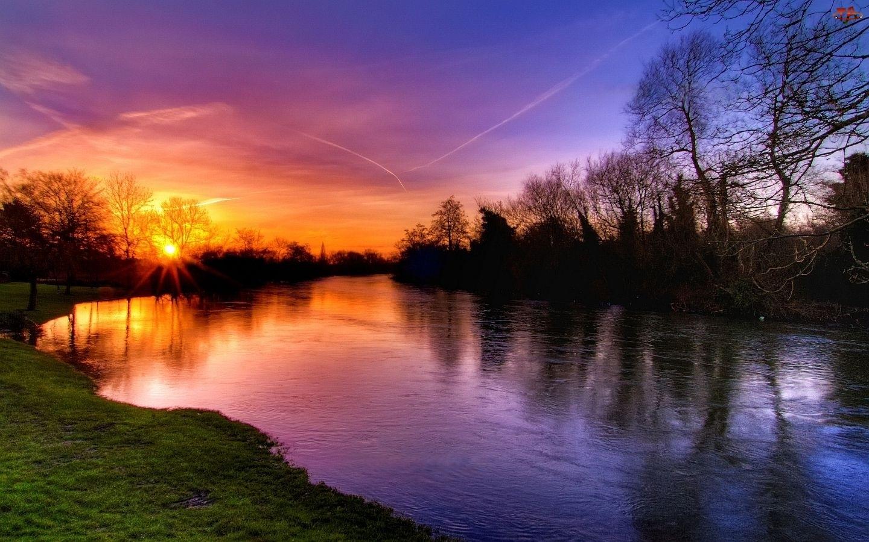 Drzewa, Piękny, Słońca, Zachód, Rzeka