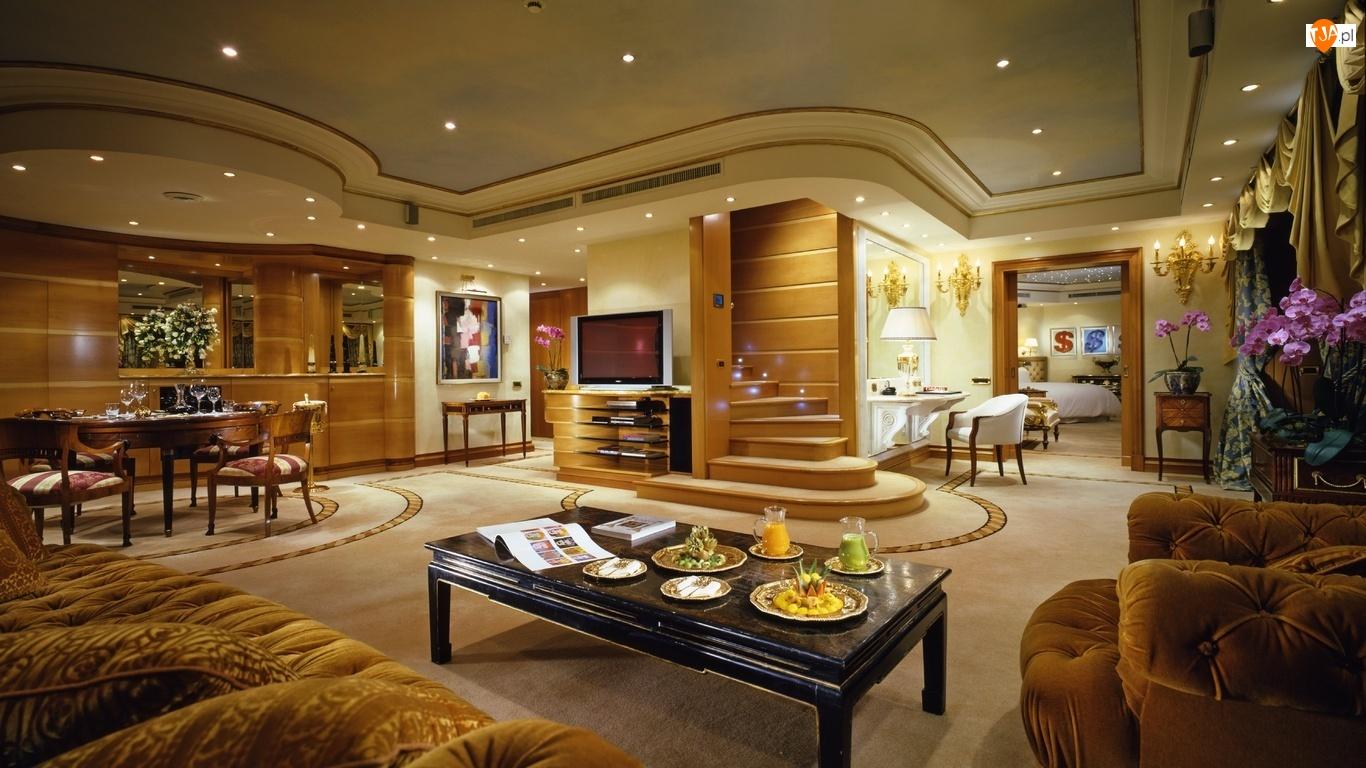 Światła, Apartament, Luksusowy, Duży, Salon
