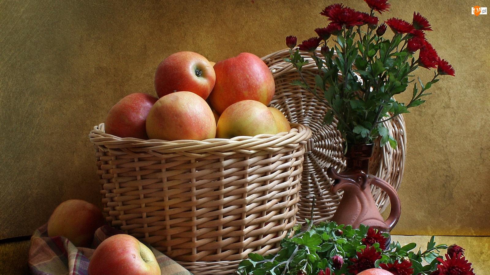 Kwiaty, Kosz, Wiklinowy, Jabłka