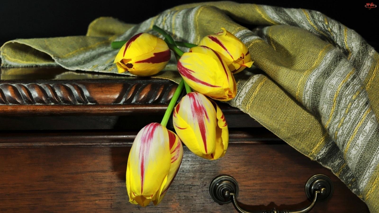 Kolorowe, Skrzynia, Tulipany, Narzuta