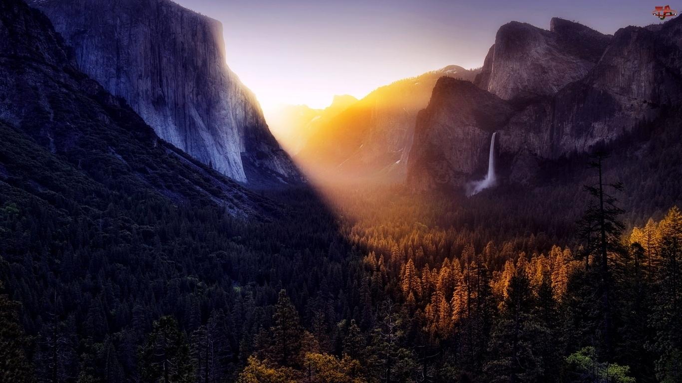 Brzask, Dolina, Las, Góry, Wodospad