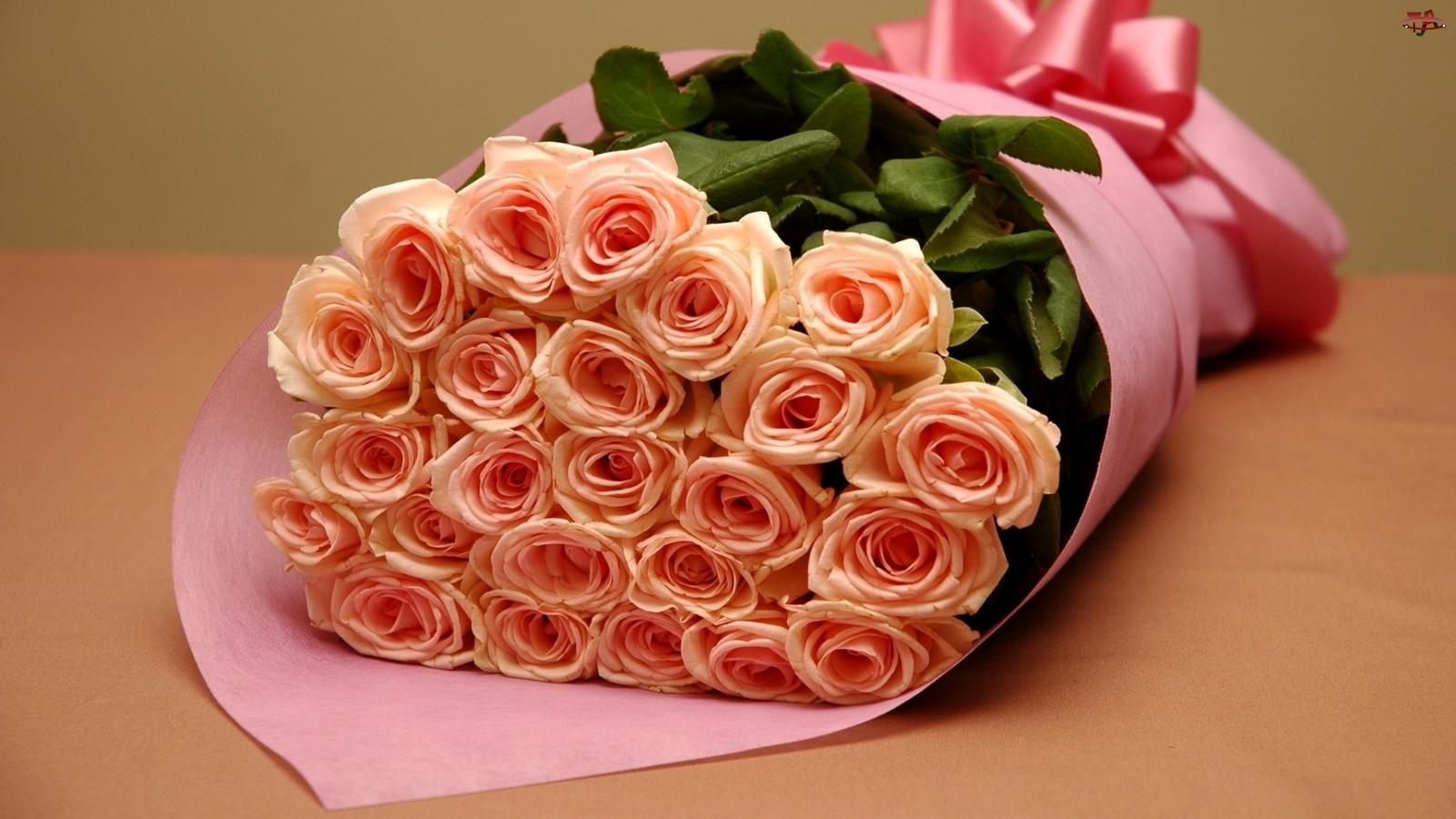 Wstążka, Ogromny, Różowych, Bukiet, Róż