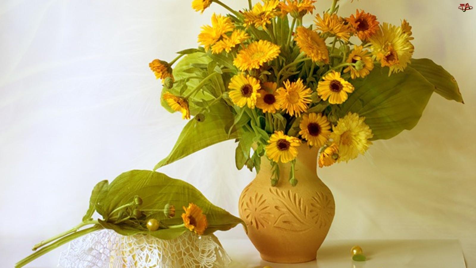 Gliniany, Nagietki, Wazon, Żółte