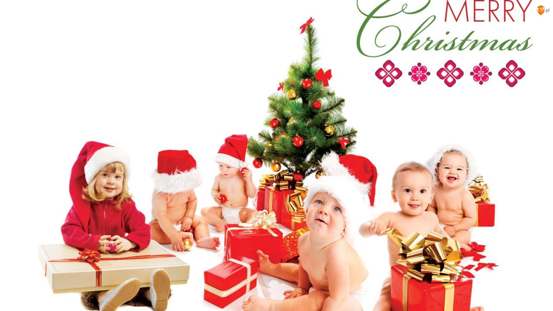 Dzieci, Święta, Choinka, Prezenty