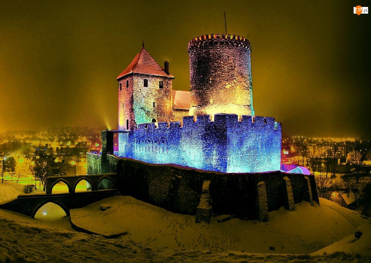 Zamek, Będzin, Kolorowe, Iluminacje