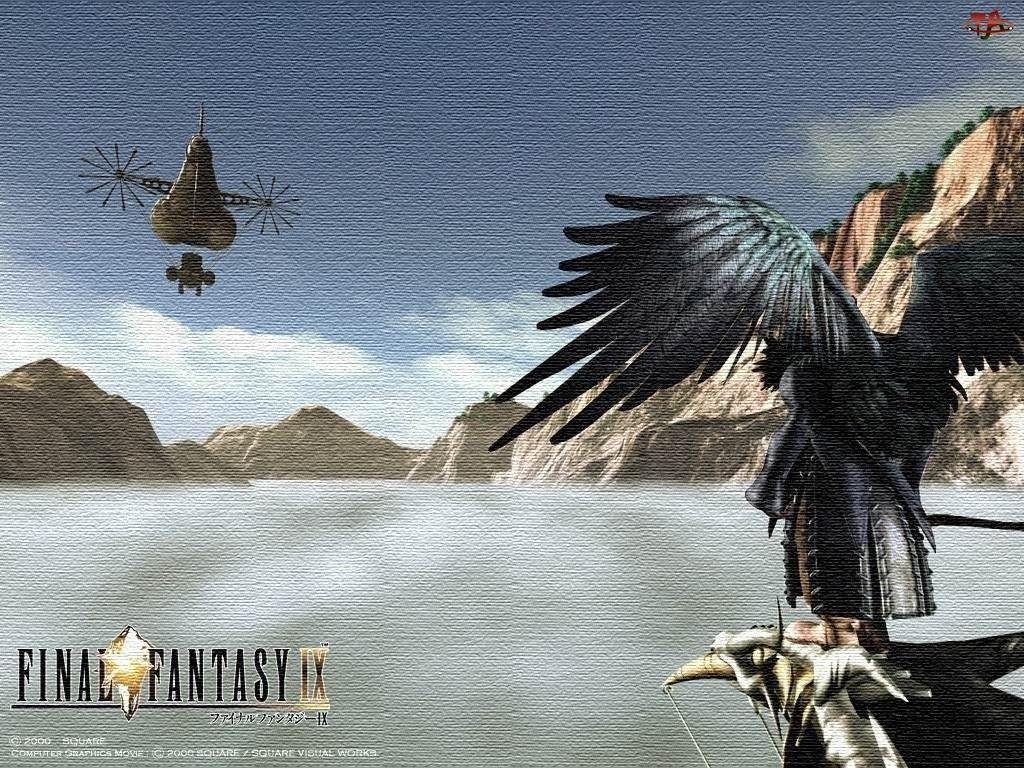 Final Fantasy, góry, ptak, postać, skrzydła