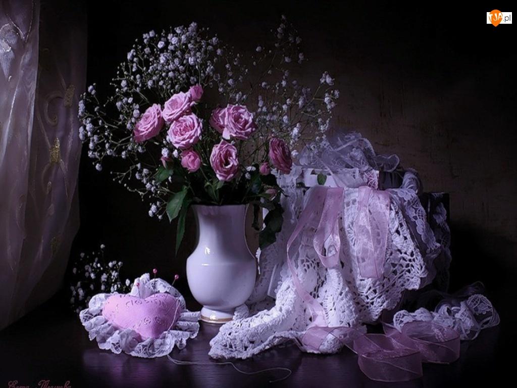 Biały, Róże, Wazon, Fioletowe