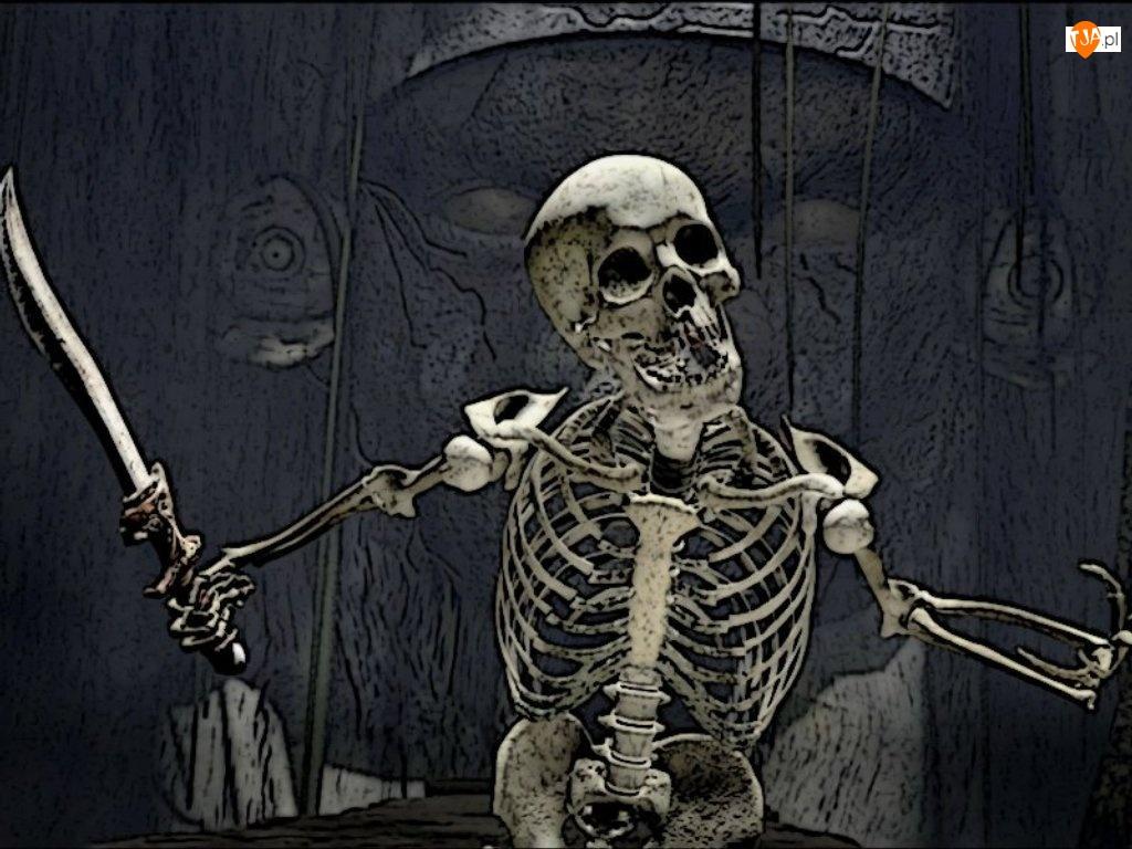 Halloween, szkielet z szablą