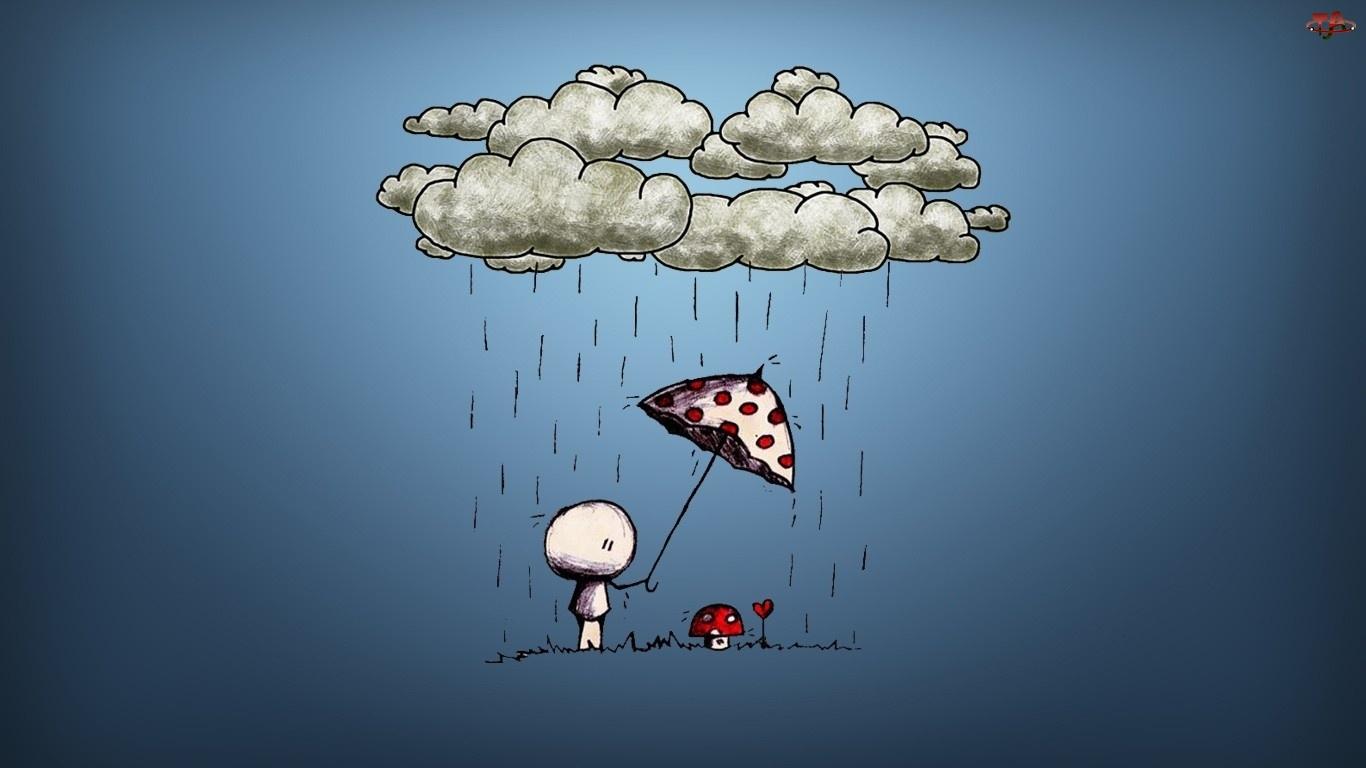 Muchomorek, Parasol, Chmurka, Deszcz
