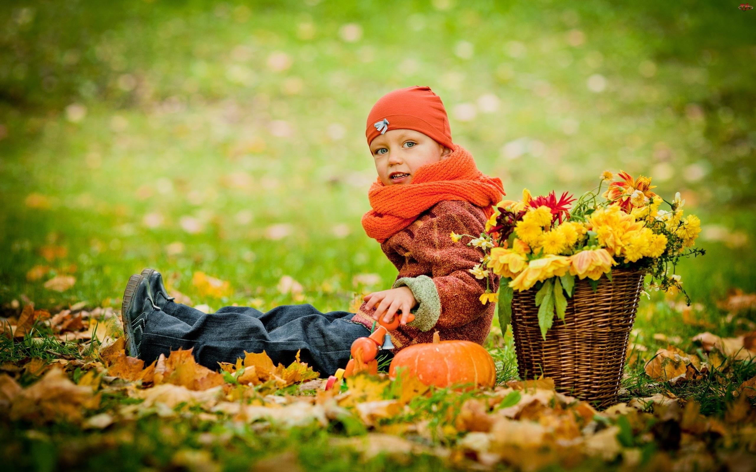 Jesień, Dziecko, Liście