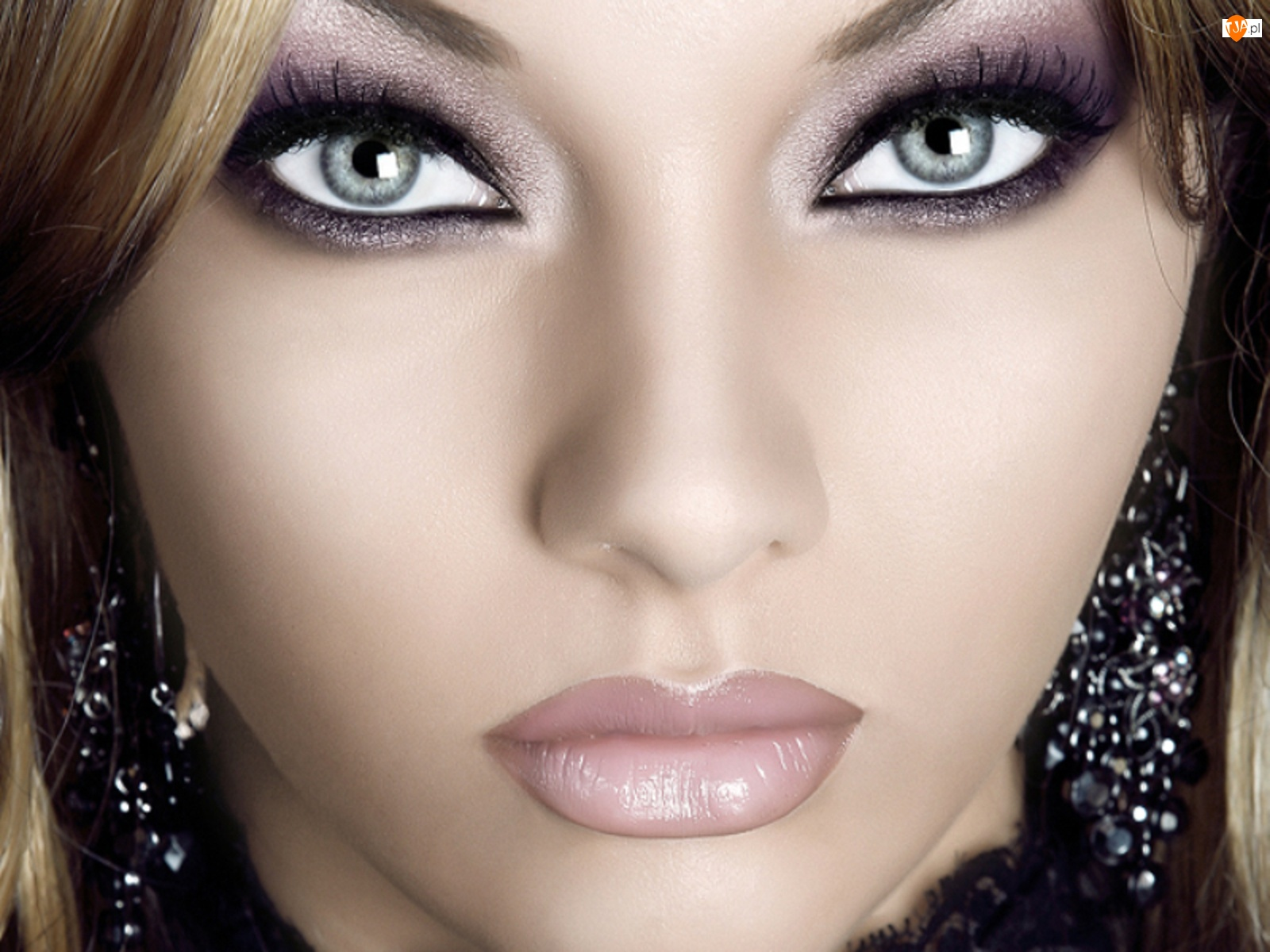 Kobieta, Oczy, Makijaż, Szare
