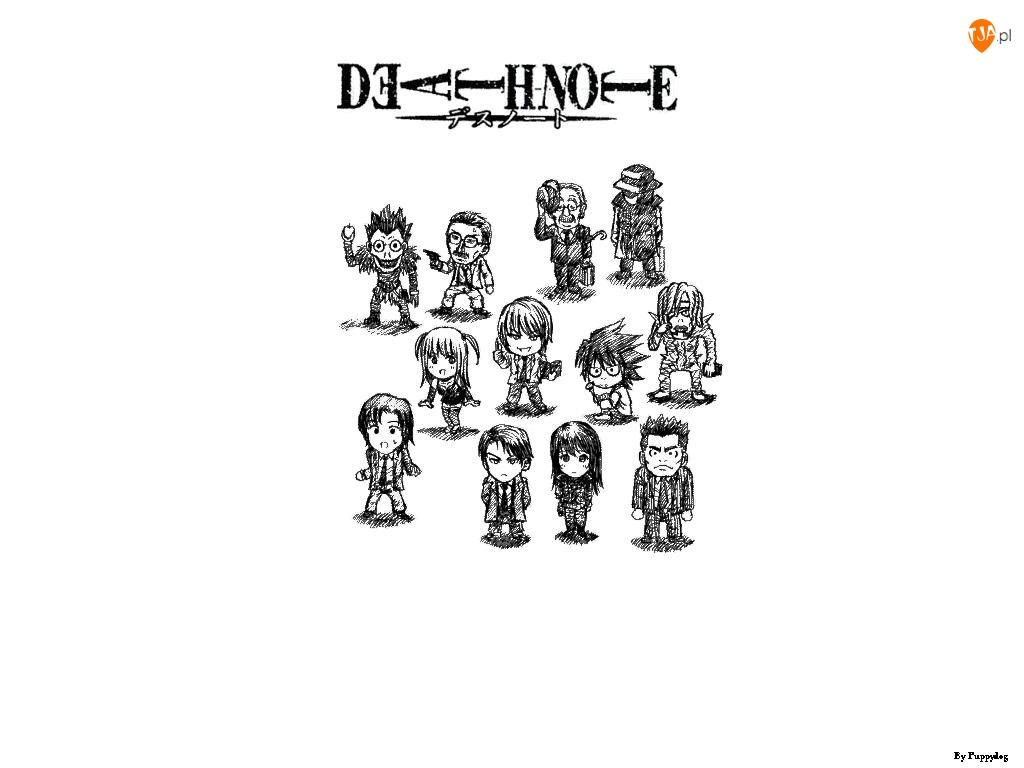 Death Note, szkic, postacie, ludziki