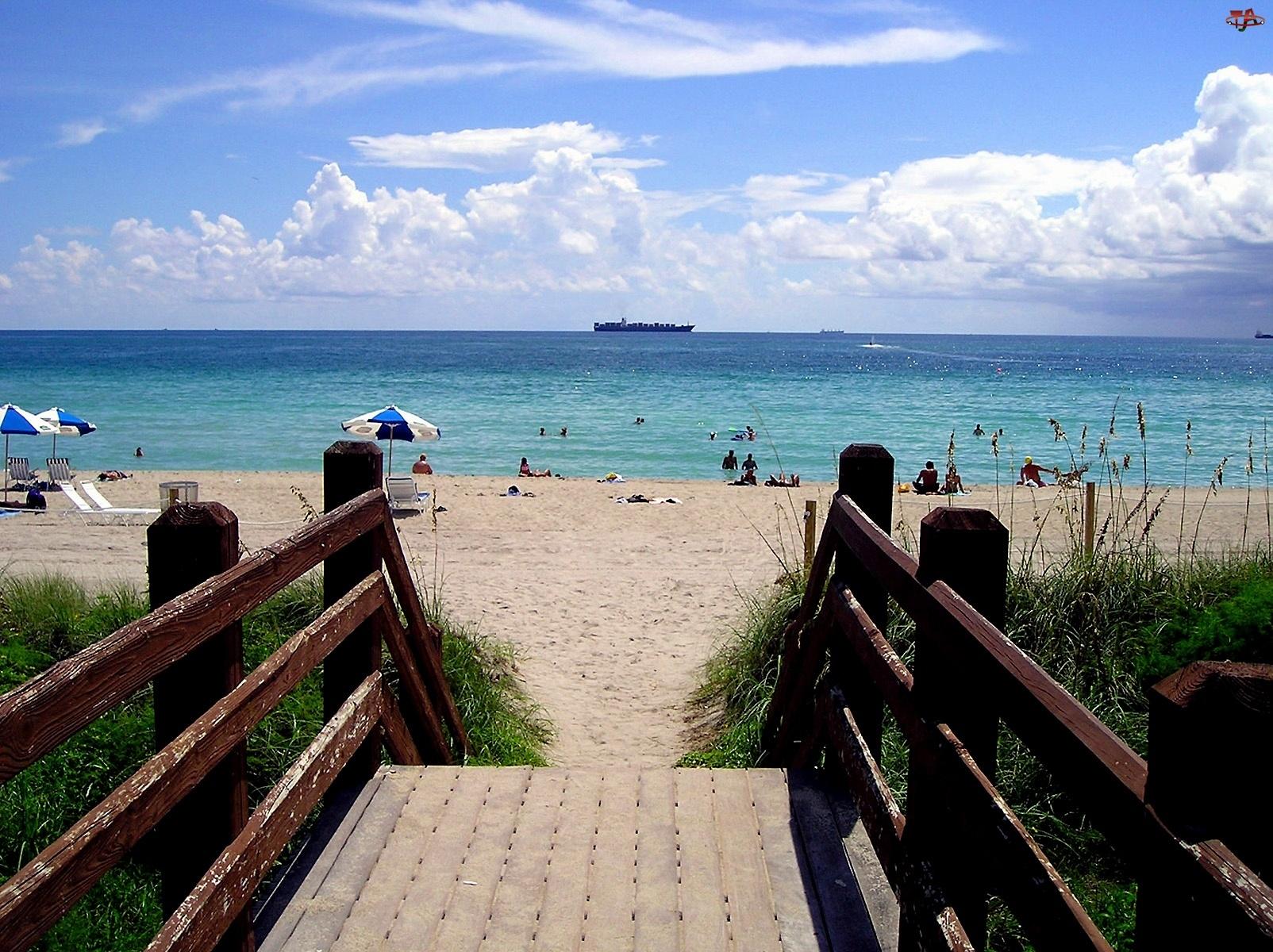 Plaże, Floryda, Zejście, Miami, Na