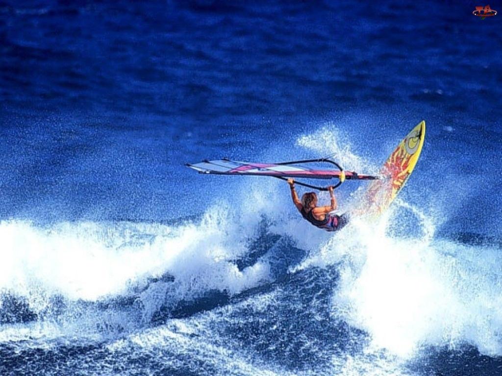 fala, Windsurfing, żagiel , deska, morze