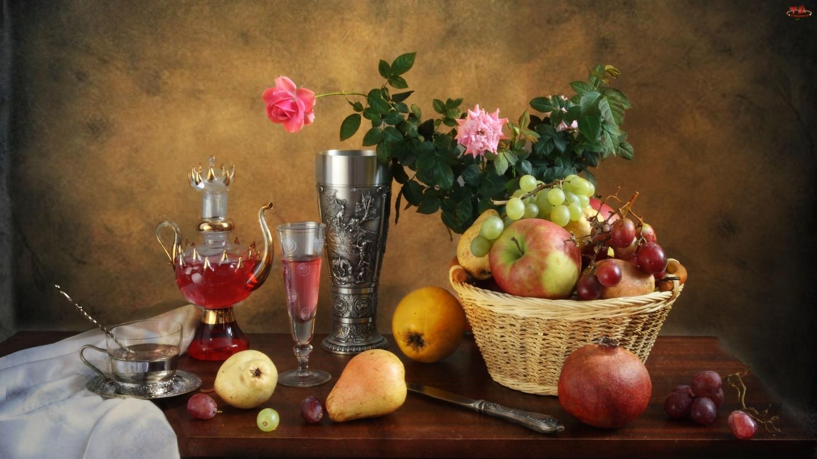Owoce, Kosz, Wino, Kompozycja, Róże, Kieliszki