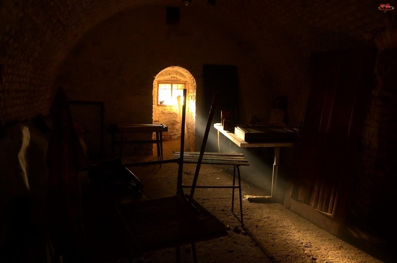 Wnętrze, Światło, Piwnica, Okno