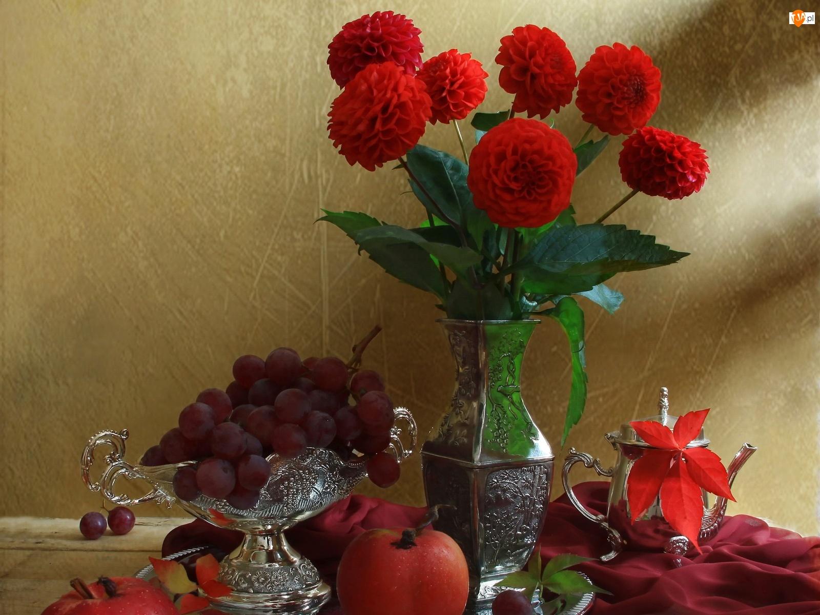 Owoce, Srebrna, Czerwone, Zastawa, Dalie