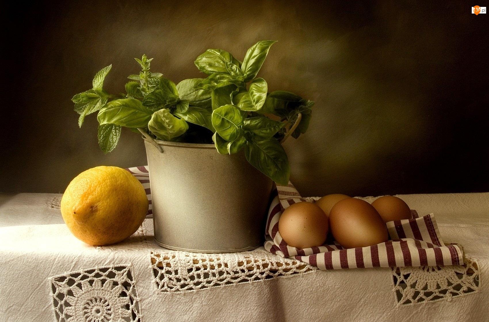 Świeża, Cytryna, Bazylia, Jajka