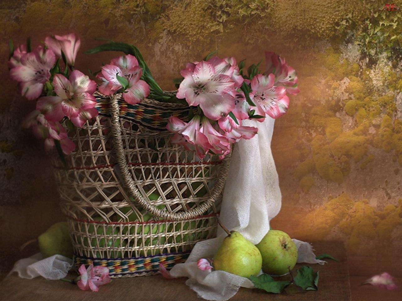 Gruszki, Bukiet, Kwiatów, Różowych, Kosz