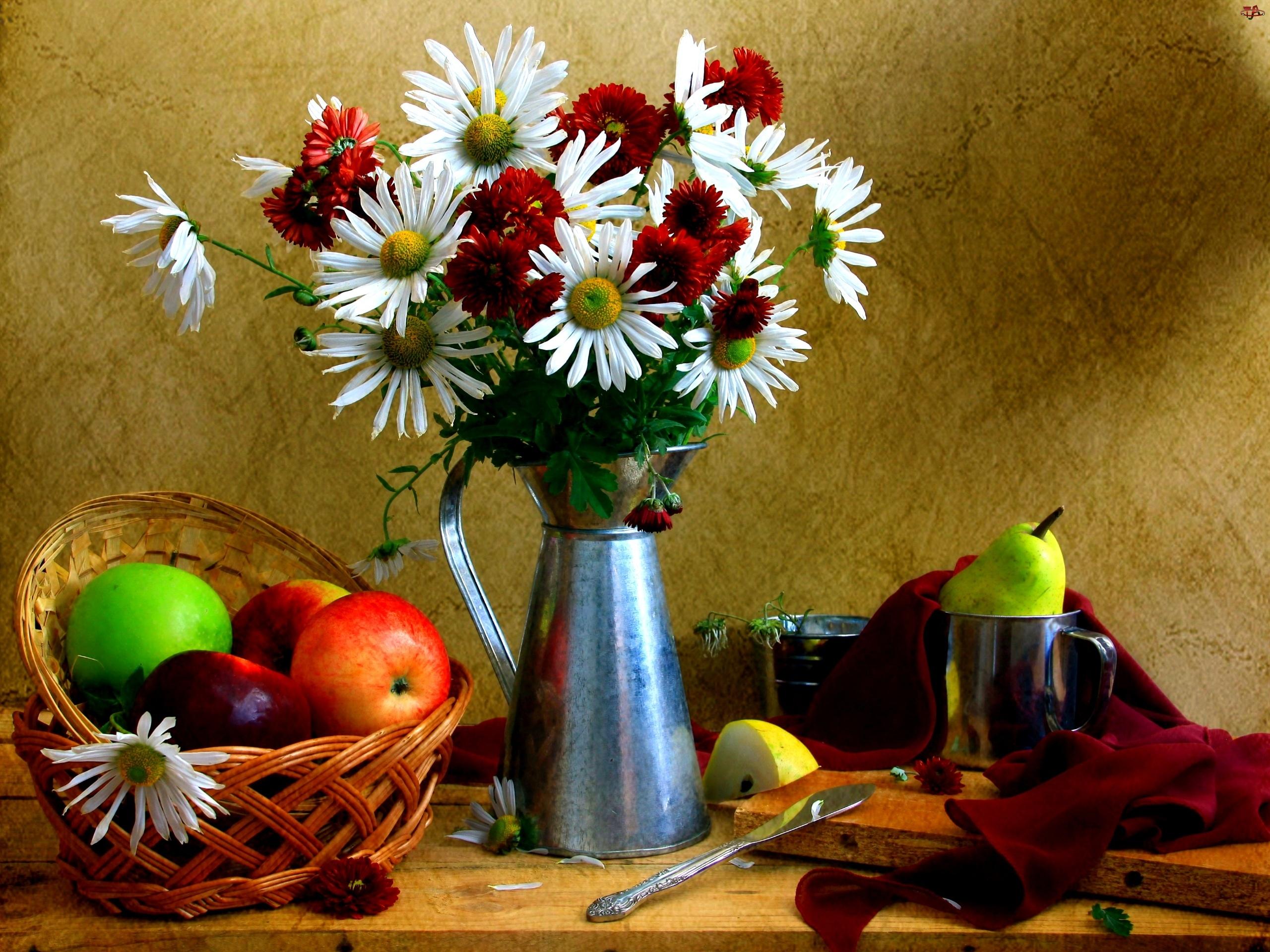 Koszyk, Blaszane, Bordowe, Białe, Owoce, Margerytki, Naczynia