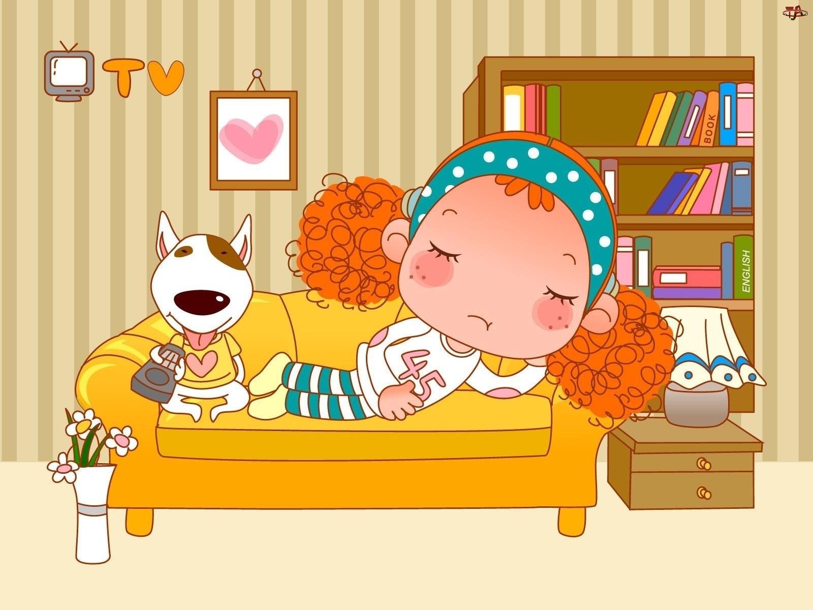 Dziecko, Odpoczynek, Pies, Kanapa