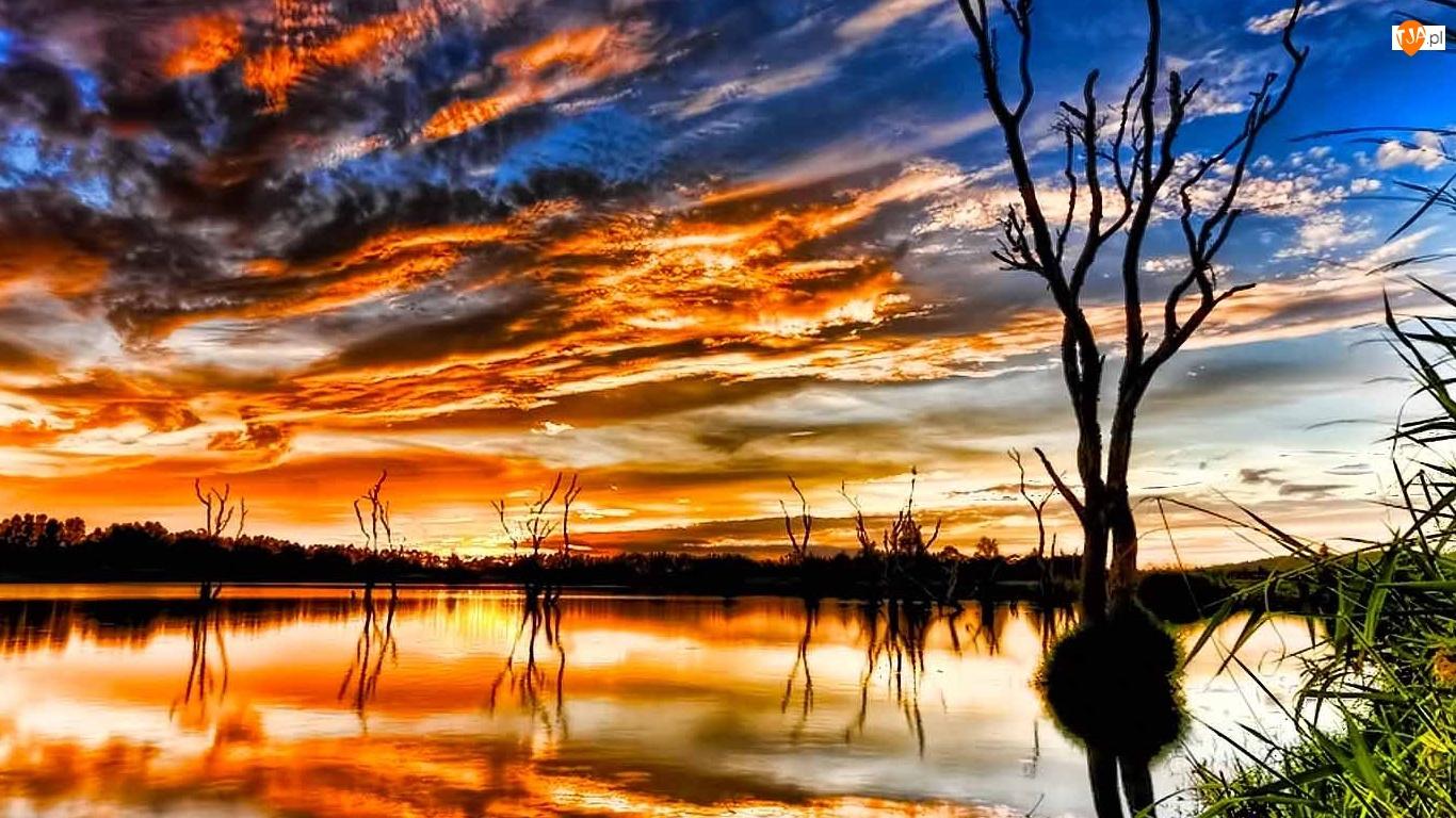Zachód, Jezioro, Słońca, Chmury