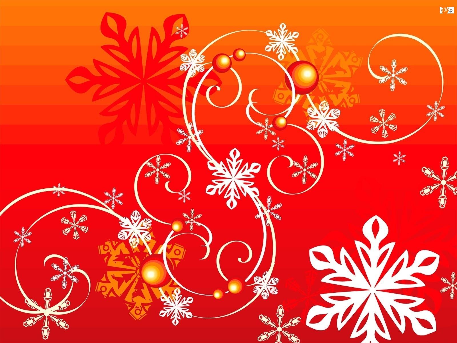 Płatki, Wstążki, Śniegu, Bombki