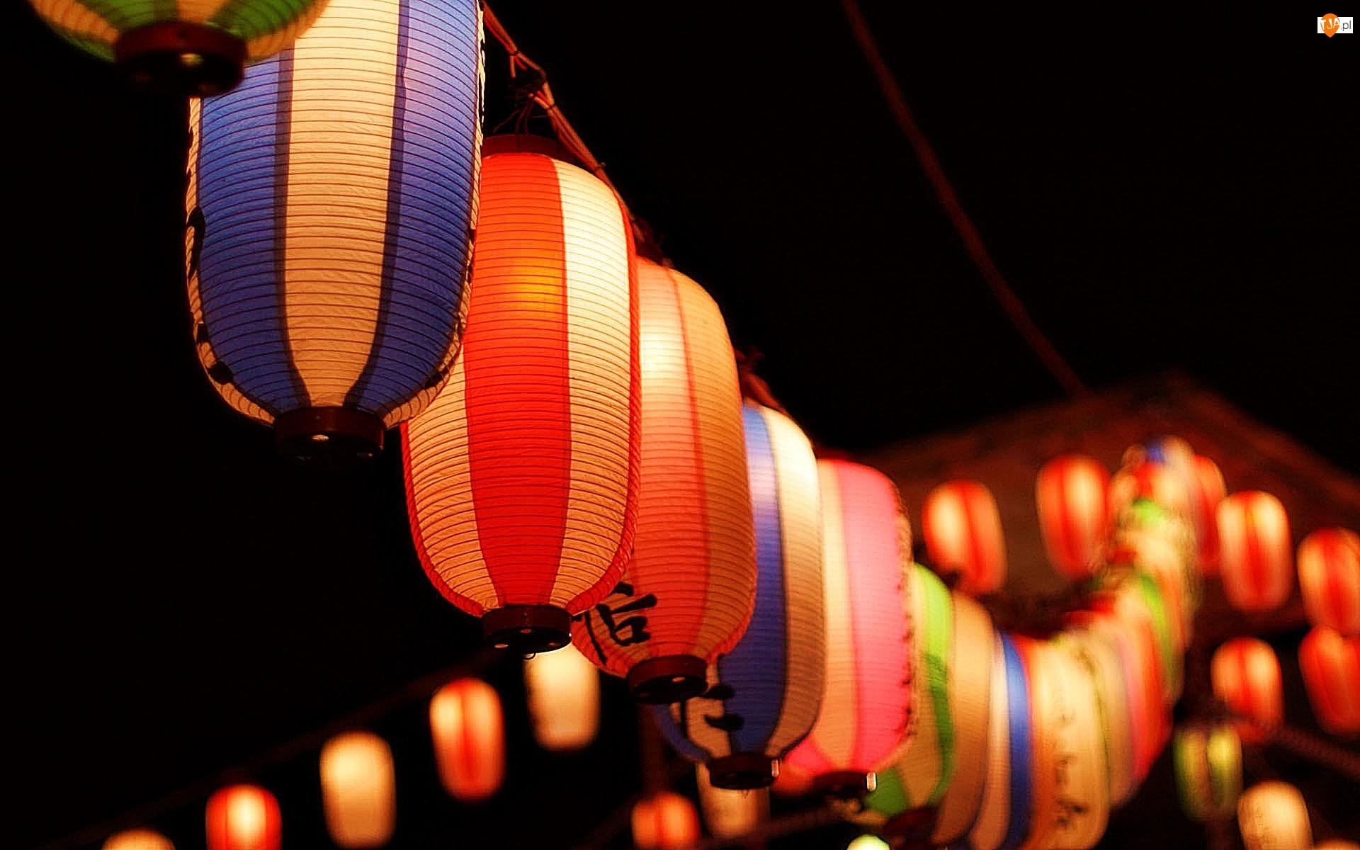 Lampiony, Kolorowe, Wiszące