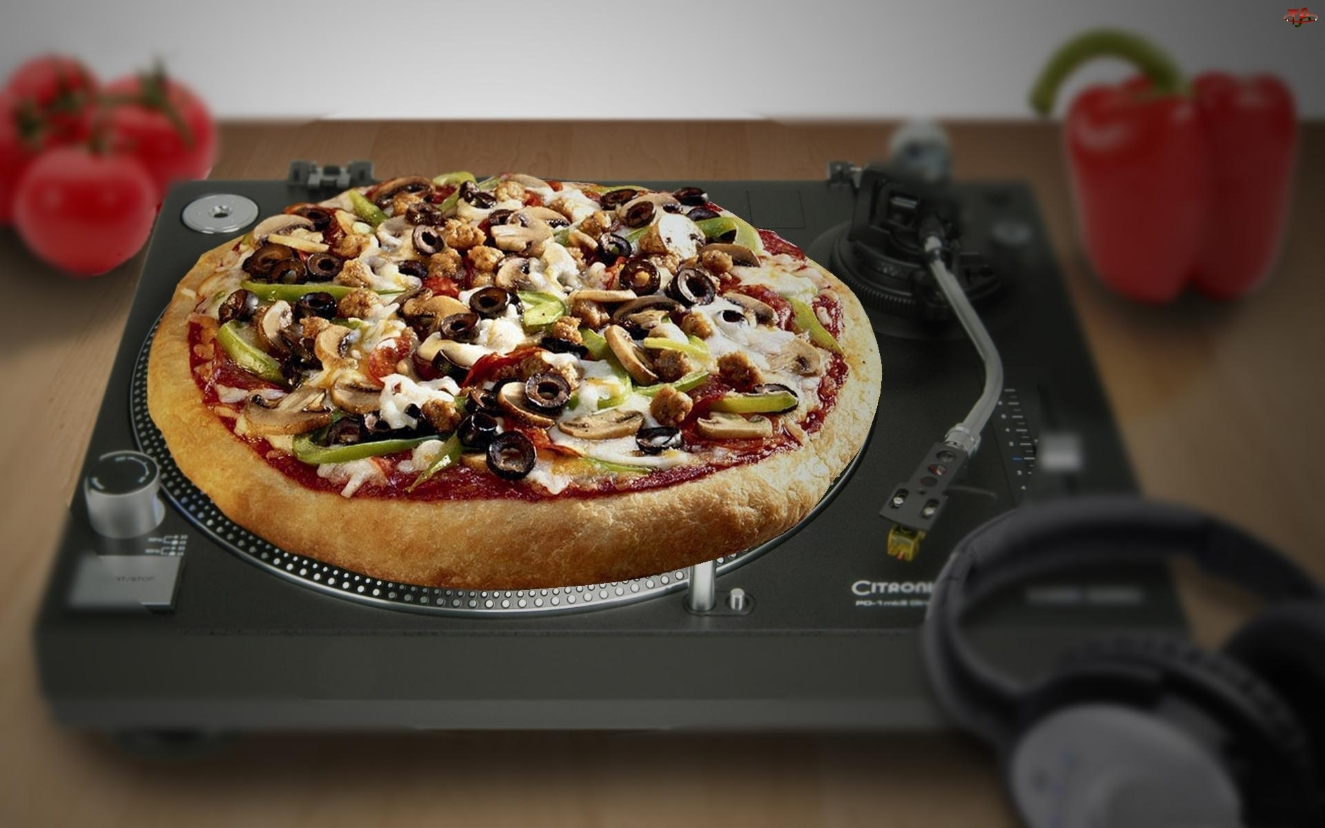 Pizza, Papryka, Gramofon, Pomidory