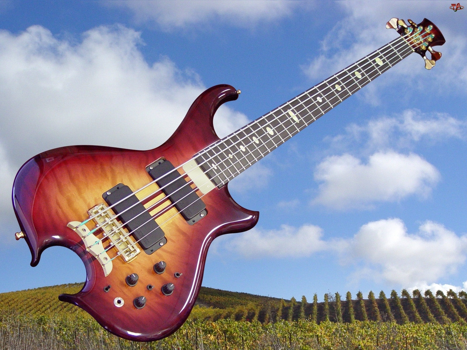 Gitara, Chmury, Pole, Niebo