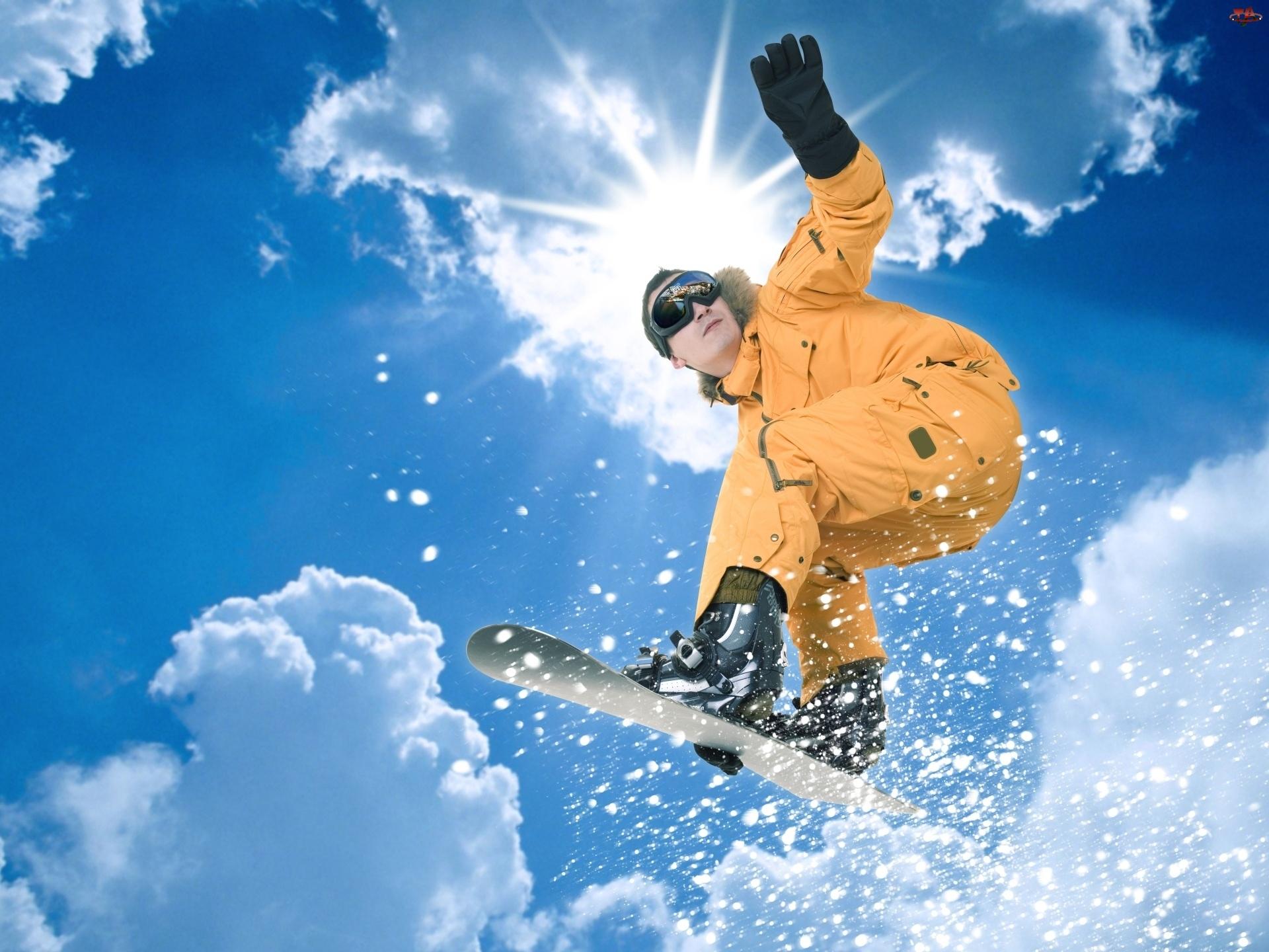 Gogle, Snowboarding, Kombinezon, Pomarańczowy, Słońce