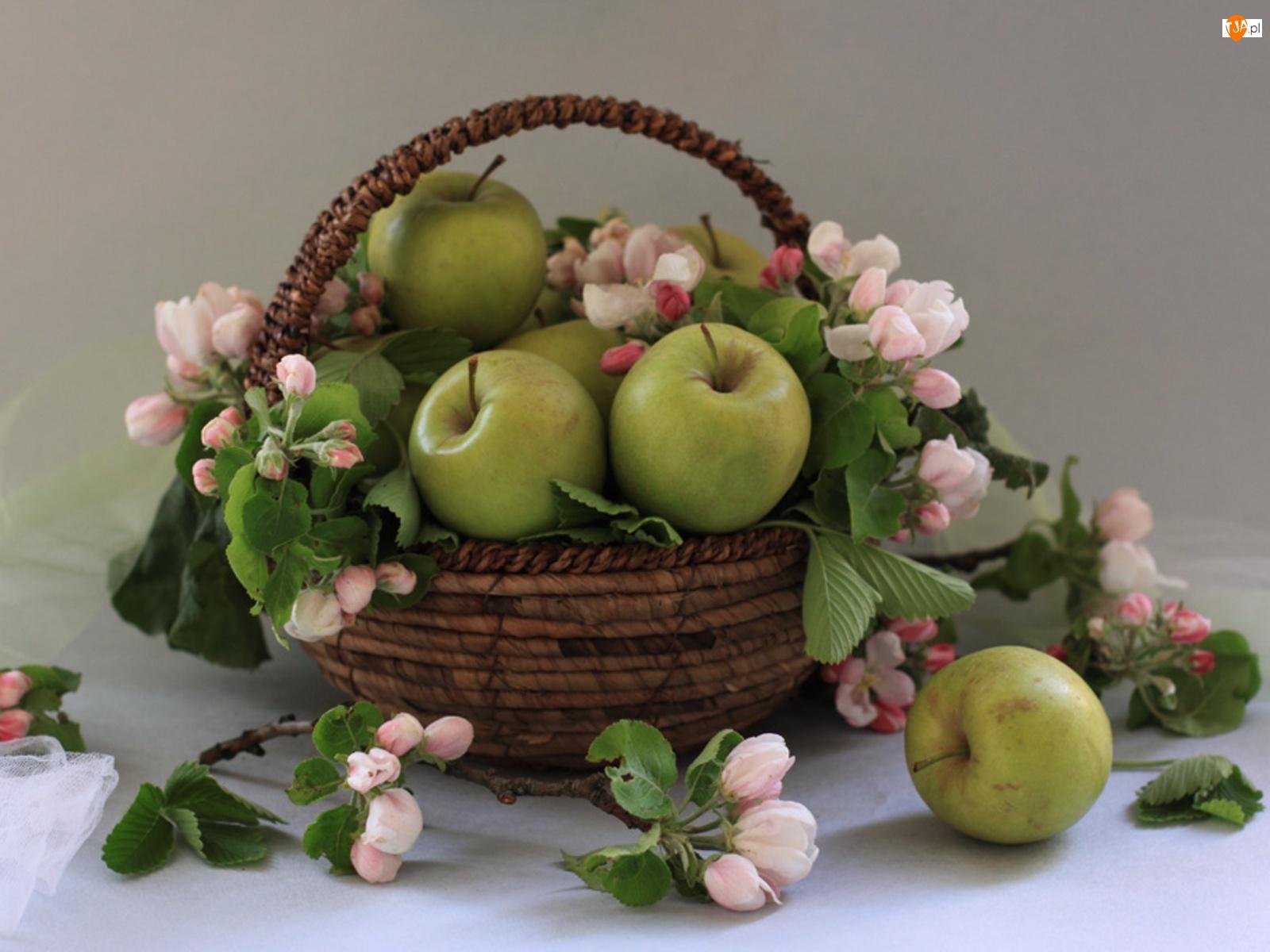 Kosz, Jabłoni, Jabłka, Kwiaty