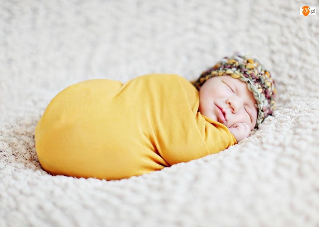 Dziecko, Uśmiechnięte, Śpiące