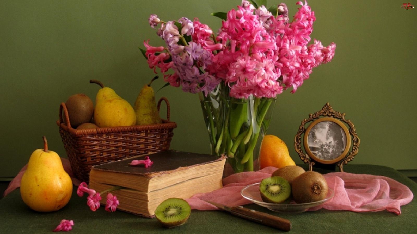 Książki, Hiacynty, Owoce